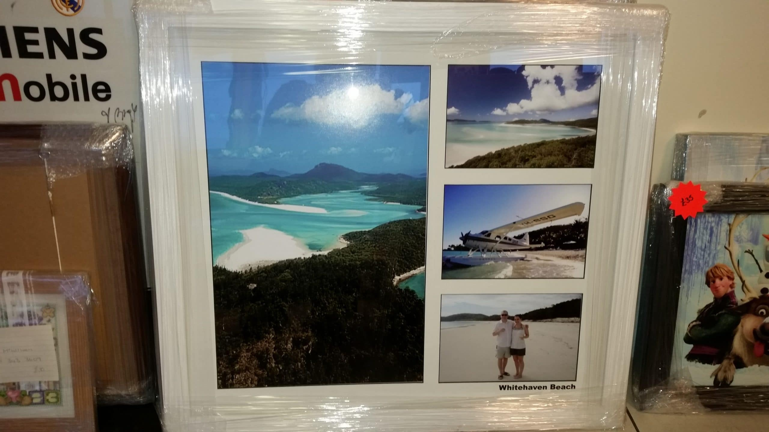 Whitehaven Beach, Australia Pictures Framed in White Moulding With Black Vinyl Lettering