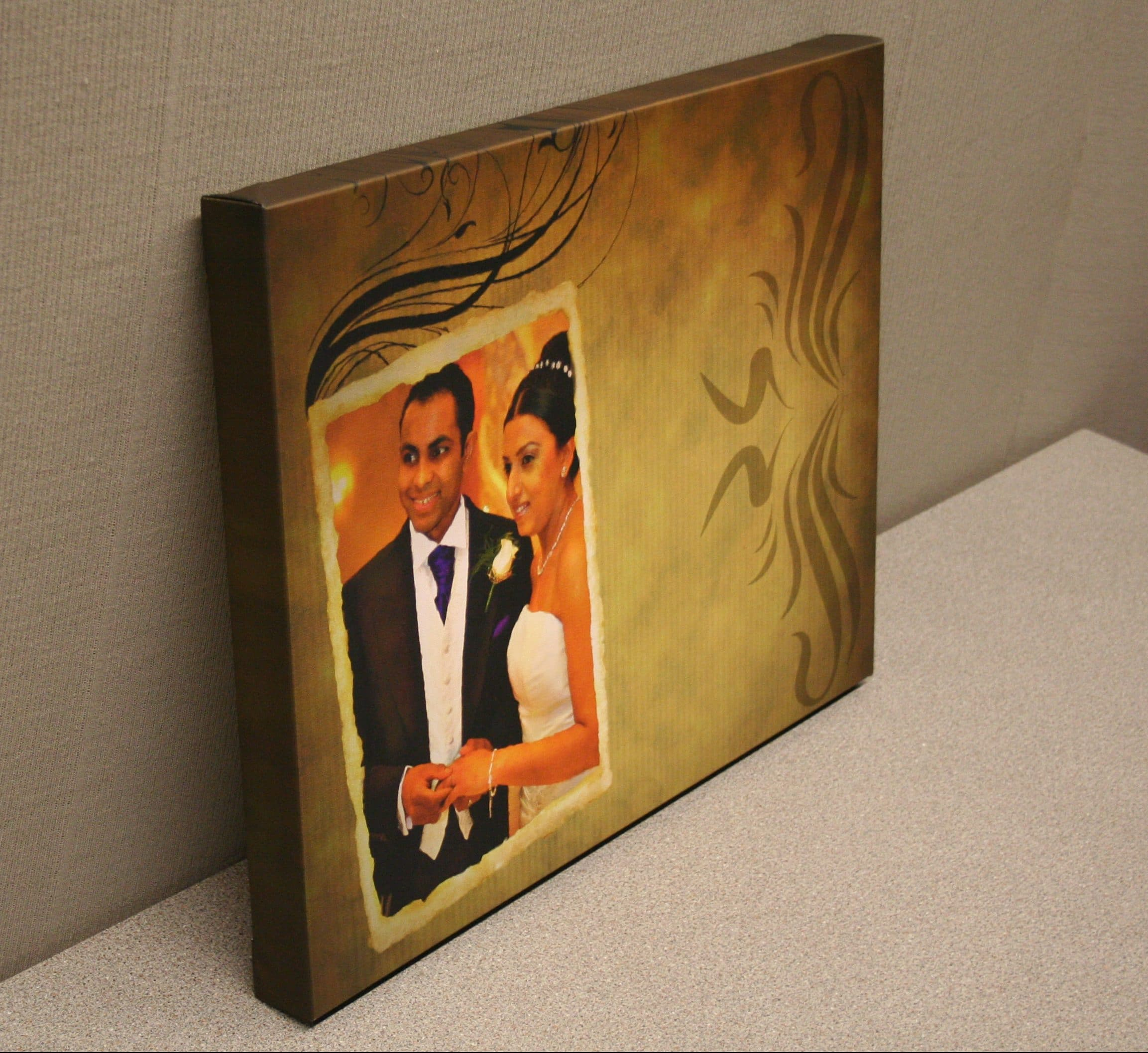 wedding couple canvas print side on
