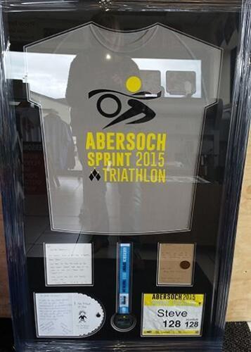 Framed Abersoch Sprint running vest and  numbers framed for customer