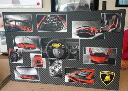 48 x 36 inch montage of Lamborghini car with carbon effect background.