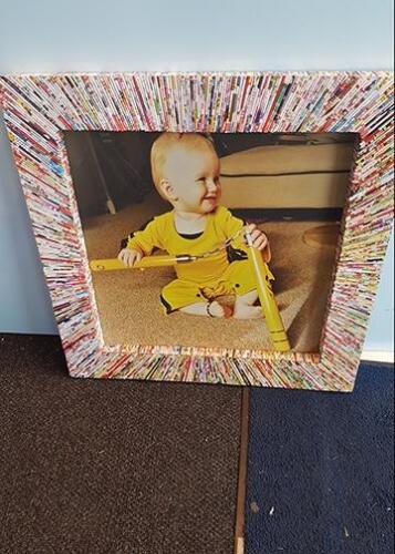 Childs picture enlarged and framed with customers frame