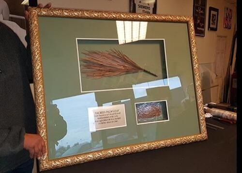 Sacred palm leaf from Mecca Framed