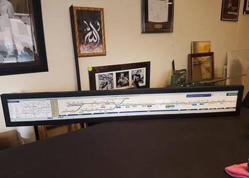 Underground subway map from train framed