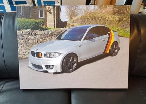 BMW custom canvas print. Photo edited to clean the picture.