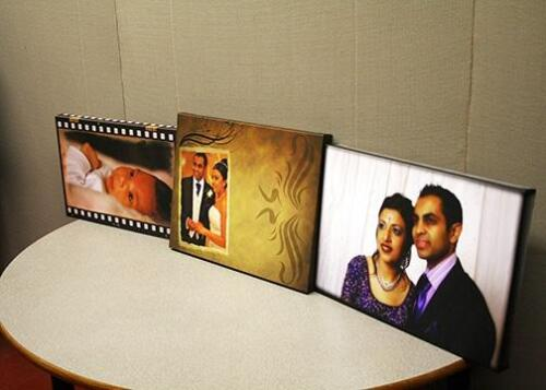 Set of 3 custom canvas prints on wedding day and new baby.