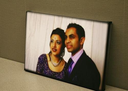 Subtle effect on custom wedding canvas print.