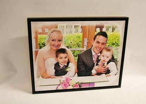 Wedding canvas in a wooden float frame. Printed on epson Giclee printer.