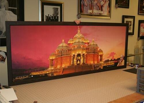 Swaminarayan Akshardham Canvas Print. Framed by NW Picture and Sports Framing.