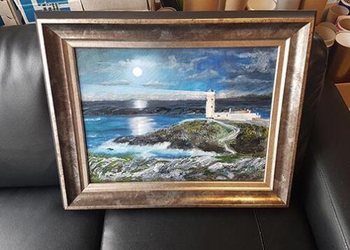 Canvas for local artist framed